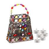Aapno Rajasthan Hand Purse Design Multi Color Wrought Iron Tea Light Holder With Free Tealight For Diwali