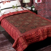 Craftsvilla Orange And Brown Beautiful Single Bed Rajasthani Cotton Quilt