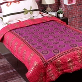 Pink And Purple Smart Rajasthani Single Bed Cotton Quilt