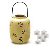 Aapno Rajasthan Mini Yellow Ceramic Hanging Enclosed Candle Holder With Free Tealight For Diwali
