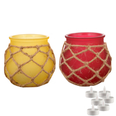 Aapno Rajasthan Yellow & Pink 2 Pot Shape Tealight Holders & Free Tealight For Diwali