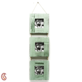Three Level Green Wooden Photo Frame With A Rope Accent