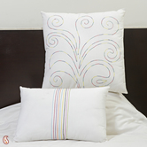 Craftsvilla Scrolly Design Embroidered White Cotton Cushion Cover Set With Fillers