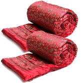 Craftsvilla Red And Golden Floral Print Single Bed Quilt- (set Of 2)