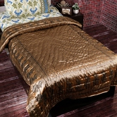 Shiny Silky Touch Brown Single Bed Quilt