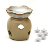 Aapno Rajasthan English Garden Brown Ceramic Tea Light Holder And Oil Warmer & Free Tealight For Diwali