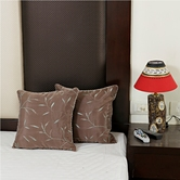 Craftsvilla Beaver Brown Pure Silk Cushion Cover Set With Hand Embroidery