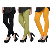 Cotton Lycra Legging Combo Of 3 - Black,light Green,yellow