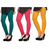 Cotton Lycra Legging Combo Of 3 - Dark Blue,pink,yellow
