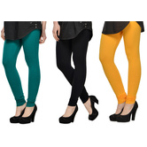 Cotton Lycra Legging Combo Of 3 - Dark Blue,black,yellow