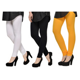 Cotton Lycra Legging Combo Of 3 - White,black,yellow