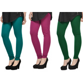 Cotton Lycra Legging Combo Of 3 - Dark Blue,purple,dark Green