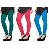 Cotton Lycra Legging Combo Of 3 - Dark Blue,pink,light Blue