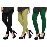 Cotton Lycra Legging Combo Of 3 - Black,light Green,green