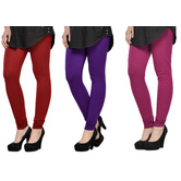Cotton Lycra Legging Combo Of 3 - Red,purple,pink