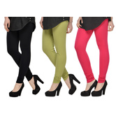 Cotton Lycra Legging Combo Of 3 - Black,light Green,pink
