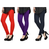 Cotton Lycra Legging Combo Of 3 - Red,purple,black