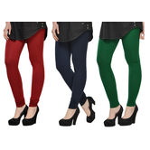 Cotton Lycra Legging Combo Of 3 - Maroon,black,green