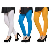Cotton Lycra Legging Combo Of 3 - White,light Blue,yellow