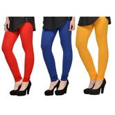 Cotton Lycra Legging Combo Of 3 - Red,blue,yellow