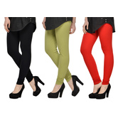Cotton Lycra Legging Combo Of 3 - Black,light Green,red