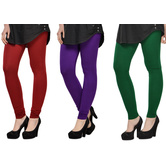 Cotton Lycra Legging Combo Of 3 - Maroon,purple,green