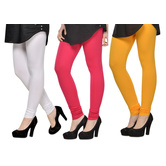 Cotton Lycra Legging Combo Of 3 - White,pink,yellow