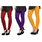 Cotton Lycra Legging Combo Of 3 - Red,purple,yellow