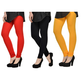 Cotton Lycra Legging Combo Of 3 - Deep Orange,black,yellow