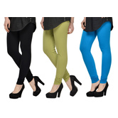 Cotton Lycra Legging Combo Of 3 - Black,light Green,light Blue
