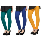 Cotton Lycra Legging Combo Of 3 - Dark Blue,blue,yellow
