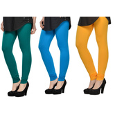 Cotton Lycra Legging Combo Of 3 - Dark Blue,light Blue,yellow