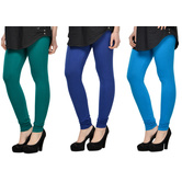 Cotton Lycra Legging Combo Of 3 - Dark Blue,blue,light Blue