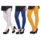 Cotton Lycra Legging Combo Of 3 - White,blue,yellow