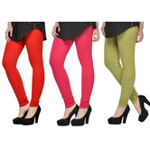 Cotton Lycra Legging Combo Of 3 - Red,pink,light Green