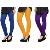 Cotton Lycra Legging Combo Of 3 - Blue,yellow,purple