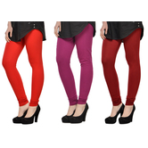 Cotton Lycra Legging Combo Of 3 - Deep Orange,purple,maroon