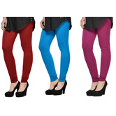 Cotton Lycra Legging Combo Of 3 - Maroon,light Blue,purple