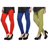 Cotton Lycra Legging Combo Of 3 - Red,blue,light Green