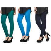 Cotton Lycra Legging Combo Of 3 - Dark Blue,light Blue,black