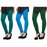Cotton Lycra Legging Combo Of 3 - Dark Blue,light Blue,dark Green