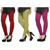 Cotton Lycra Legging Combo Of 3 - Maroon,light Green,purple
