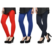 Cotton Lycra Legging Combo Of 3 - Red,blue,black