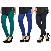 Cotton Lycra Legging Combo Of 3 - Dark Blue,blue,black