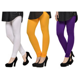 Cotton Lycra Legging Combo Of 3 - White,yellow,purple