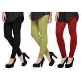 Cotton Lycra Legging Combo Of 3 - Black,light Green,maroon