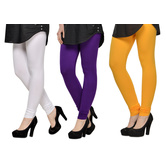 Cotton Lycra Legging Combo Of 3 - White,purple,yellow