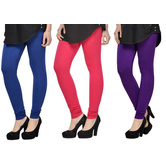 Cotton Lycra Legging Combo Of 3 - Blue,pink,purple