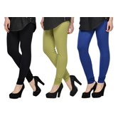 Cotton Lycra Legging Combo Of 3 - Black,light Green,blue