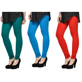 Cotton Lycra Legging Combo Of 3 - Dark Blue,light Blue,red